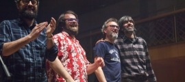 Fano Pallarès, Josu Adánez, Oriol Vilella i Albert Duat, al gener a l'Auditori, en el concert pel 10è aniversari de Madretomasa.