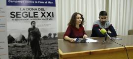 Meritxell Farrero i Guillem Tudó durant la presentació dels projectes i els actes de la campanya de Mans Unides, ahir a la tarda.