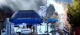 Les obres del nou telecarida de La Roca, a l'estació d'esquí d'Espot.