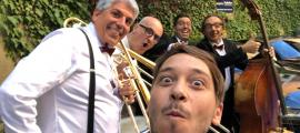 Barceló, amb Font (trombó), Hinojosa (bateria) i, en primer terme, Aymí (clarinet); falta Loewe, al contrabaix, que no és el de la foto.