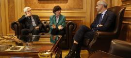 Jean-Marc Laforet i Chantal Mauchet en la reunió que van manterir ahir amb Antoni Martí.