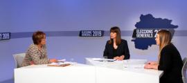 Les candidates de les llistes a Canillo, Meritxell Palmitjavila (DA), i Cristina Valen (d'Acord), van protagonitzar el debat d'ahir.