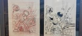 Dues de les planxes originals que s'exposaran, amb esbossos del popular personatge creat per Jan.