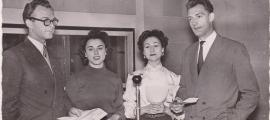Henri Marais, Lydia Merino, Carmen del Monte i Paul Servant, als estudis d'Escaldes.