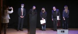 Capdevila, Generoso i Marina, entre l'ambaixador Triboulet i la ministra Riva, ahir a l'Auditori Nacional.