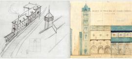 El primer esbós de la central, datat el 1931, ja incloïa els tres volums esglaonats; la torre, en canvi, es va descartar; Perspectiva lateral de Sant Pere màrtir, amb la torre neoromànica i els sis trams del temple: el sisè no es va acabar fins al 1980.