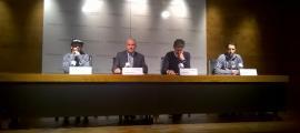 Carlitos Aguareles, Josep Maria Cabanes, Carles Visa i Josep Gil en la presentació de la temporada de l'equip d'estil lliure de la FAE.