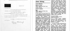 La carta en què Kirkup anuncia la pròxima publicació de la ressenya, que va sortir al número del 4 de febrer del 1983 del TLS.
