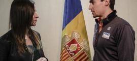 Un moment de la recepció que l'executiu va oferir ahir a Irineu Esteve.