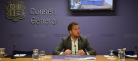 El president del grup socialdemòcrata, Pere López, a la compareixença d'ahir.