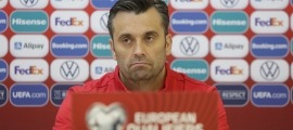 El seleccionador Koldo Alvarez de Eulate, durant la roda de premsa d'ahir prèvia al partit contra Albània. Foto: Facundo Santana