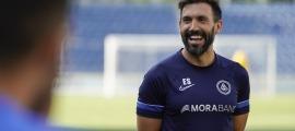 Eder Sarabia en l'entrenament d'ahir de l'FC Andorra a l'Estadi Nacional.