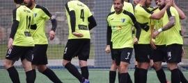 Genís Soldevila va celebrar l'1 a 0 de l'Inter, amb samarreta d'AMMA, contra el CE Carroi. Foto: Interescaldes.com