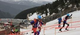 Oriol Olm, el jove esquiador de muntanya de l'equip nacional de la FAM, va assolir la quarta posició en la prova esprint U18. Foto: FAM