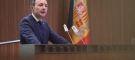 El cap de Govern, Xavier Espot, en un moment del seu discurs en la primera jornada del debat d'orientació política.