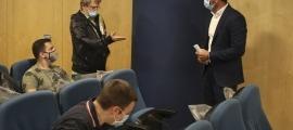 Filloy i Zapatero en la signatura del conveni, ahir al migdia.