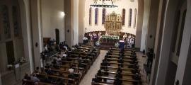 Un moment de la missa funeral per a les víctimes del coronavirus que va tenir lloc ahir a l'església Sant Esteve d'Andorra la Vella.