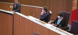 El president del grup socialdemòcrata, Pere López, en un moment de la seva intervenció ahir al Consell General.