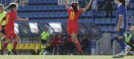 Zoe Montero celebra el gol de la primera victòria de la selecció sub-19 femenina. Foto: Facundo Santana