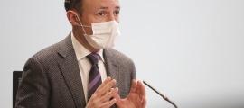 El cap de Govern, Xavier Espot, en la roda de premsa d'aquest dilluns.