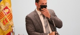 El ministre Jordi Gallardo en la compareixença d'ahir a la tarda.