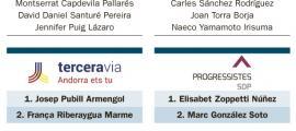 Les tres candidatures que es presenten a Escaldes-Engordany.