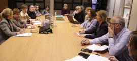 Un moment de la reunió entre els grups parlamentaris de la majoria i els membres de la FAAD, ahir.