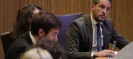 El president del grup socialdemòcrata, Pere López, en la intervenció d'ahir.