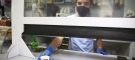 Un cambrer en el seu lloc de treball amb mascareta.