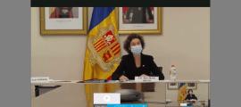 La ministra d'Afers Exteriors, Maria Ubach, durant la intervenció davant del Consell de drets humans de l'ONU, ahir.