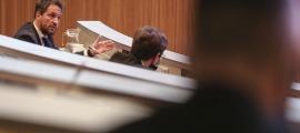 El president del grup parlamentari socialdemòcrata, Pere López, en una de les seves intervencions ahir al Consell General.