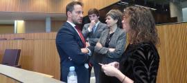 Judith Salazar amb Pere López, Susanna Vela i Roger Padreny al Consell General.