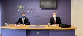 Pere López i Quim Miró durant la compareixença d'aquest matí al Consell General.