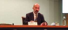 El ministre de Salut, Joan Martínez Benazet, en la compareixença d'aquesta tarda.