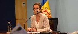 La titular de Medi Ambient, Agricultura i Sostenibilitat, Sílvia Calvó, durant la roda de premsa posterior al consell de ministres.