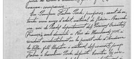 Primera pàgina del testament de Pompeu Fabra atorgat el 27 de novembre del 1947 davant de notari Rossend Jordana.