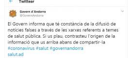El tuit que ha fet el Govern per informar de les notícies falses.