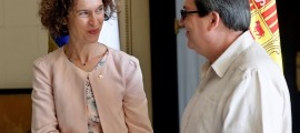 Maria Ubach i el seu homòleg cubà, Bruno Rodríguez, en una trobada a l'Havana el febrer passat.