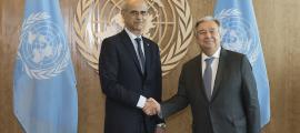 Martí i Guterres, divendres a la seu de l'ONU a Nova York.