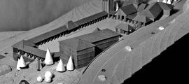 Maqueta del projecte amb què Josep Brugal va participar el 1971 al concurs convocat pel Consell General per ampliar el santuari; dos anys després, amb l'incendi de Meritxell, se'n va convocar un segon.