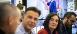 Pep Aguareles, Marc Pons, Raquel López i David Sanz van presentar ahir a la Llacuna el nou curs de les escoles de música, art i teatre d'Andorra la Vella.