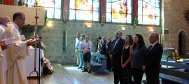 Missa de sant Roc en motiu de la festa major de la parròquia d'Encamp, amb  assistència estrictament institucional.