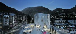 Recreació de 'Granit i vidre', el projecte guanyador, que evoca un bloc de granit i reinterpreta l'arquitectura vernacular.