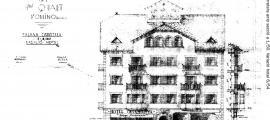 Projecte original de l'hotel Casamanya, firmat per Pla el 1952 i que inicialment havia de ser una casa de veïns.