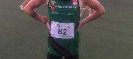 L'atleta andorrà Nahuel Carabaña en finalitzar la prova aquest dilluns.