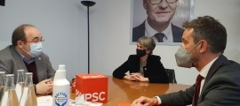 Vela i López en un moment de la reunió amb Iceta, avui a Barcelona.